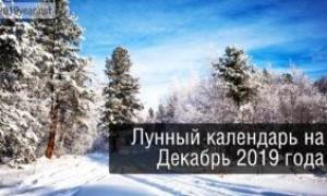 Лунный календарь, декабрь 2019