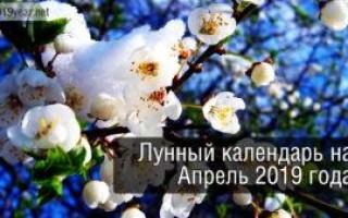 Лунный календарь, апрель 2019