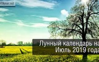 Лунный календарь, июль 2019